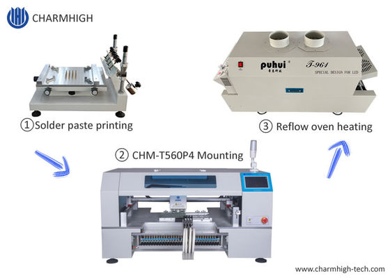 High Precision SMT Production Line T961 Reflow Oven 60 Feeders Pick And Place Machine