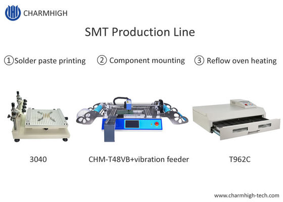 T962C Reflow Oven SMT Production Line 3040 Stencil Printer Chmt48vb Table Top Pick And Place